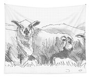 Sheep Drawing Tapestry