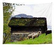 Sheeps And Rustic House Tapestry