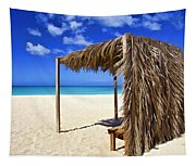 Shelter On A White Sandy Caribbean Beach With A Blue Sky And White Clouds Tapestry