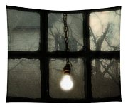 Lit Light Bulb Shines In Old Window Tapestry