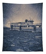 Ship In A Snowstorm Tapestry