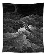 Ship In Stormy Sea Tapestry