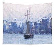 Ship Through The Haze Tapestry