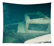 Ship Wreck With Trucks Tapestry
