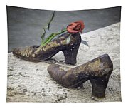 Shoes On The Danube Bank Tapestry
