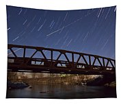 Shooting Star Over Bridge Tapestry