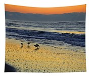 Shorebirds At Dawn Tapestry