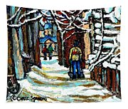 Shovelling Out After January Storm Verdun Streets Clad In Winter Whites Montreal Painting C Spandau Tapestry