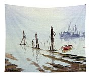 Shrimp Boat With Evening Lights Tapestry