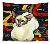 Siamese Cat On A Cushion Tapestry