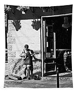 Sidewalk Banjo Plucker In French Quarter Tapestry