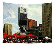 Sidewalk Cafe Lunch Break Red Umbrellas Yonge Dundas Square Toronto Cityscene C Spandau Canadian Art Tapestry