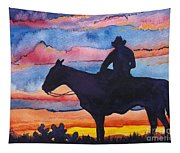 Silhouette Cowboy Tapestry