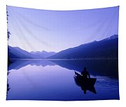 Silhouette Of A Canoeist At Sunrise Tapestry