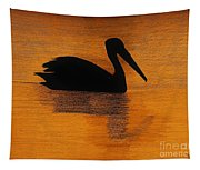 Silhouette Of A Pelican Tapestry