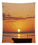 Silhouetted Boat Tapestry