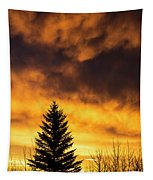 Silhouetted Evergreen Tree Tapestry