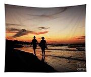 Silhouettes On Varadero Beach Tapestry