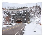 Silver Creek Cliff Tunnel Winter 1 Tapestry
