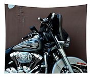 Silver Harley Motorcycle Tapestry
