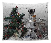 Silver Snowman With Christmas Tree Tapestry