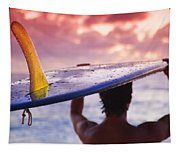 Single Fin Surfer Tapestry