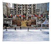 Skating At Rockefeller Plaza Tapestry