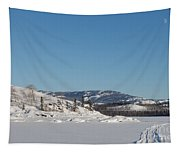 Skidoo Track On Frozen Lake Tapestry