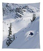 Skier Hitting Powder Below Nak Peak Tapestry
