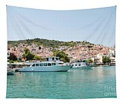 Skopelos Harbour Greece Tapestry