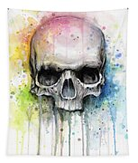 Skull Watercolor Painting Tapestry