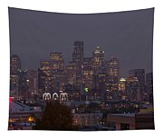 Skylines At Dusk, Seattle, King County Tapestry