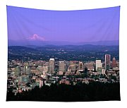 Skylines In A City With Mt Hood Tapestry
