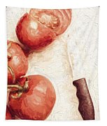 Sliced Tomatoes. Vintage Cooking Artwork Tapestry