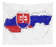 Slovakia Painted Flag Map Tapestry
