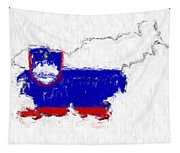 Slovenia Painted Flag Map Tapestry