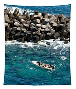 Small Boat Off Nassau Shore Tapestry