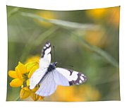 Small White Butterfly On Yellow Flower Tapestry