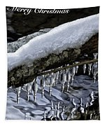 Snow And Icicles Merry Christmas Card Tapestry