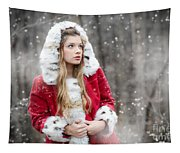 Snow Beauty In Red Tapestry