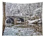 Snow Coming Down On The Wissahickon Creek Tapestry