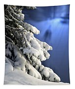 Snow Covered Tree Branches Tapestry