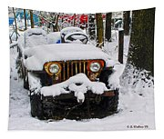 Snow Jeep Tapestry