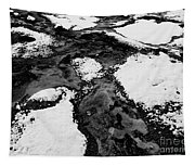 Snow On Rock Bw Tapestry