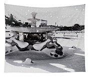 Snow On The Fountain Tapestry