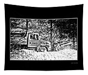 Snow Plow In Black And White Tapestry