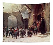 Snow Scene  Children Leaving School Tapestry