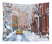 Snow West Village New York City Tapestry