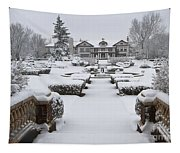 Snowfall At Longview Mansion Tapestry