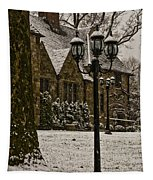 Snowing At Stokesay Castle Tapestry